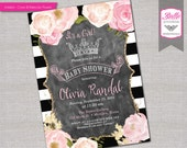Baby Shower Invitation - Paris Inspired with Gold Glitter Watercolor flowers & Crown - DIY Printable JPG - Pink - White and Black Stripes