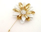 Gold White Enamel Flower Lapel Pin Buttonhole Gold Metal Flower Lapel Pin Groom Gold Boutonniere Dapper Men's Lapel Pin Gold White Wedding