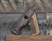 Personalized Pocket Beard Comb - Folding Wood Travel Beard Comb Made of Sustainable Bamboo and Handsome Walnut Hardwood - The Black and Tan