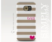 Samsung Galaxy S6 Case, Beige Stripe and Pink Heart Case, Personalized Galaxy S5 Case, Samsung Galaxy Case, Monogram Phone Cover
