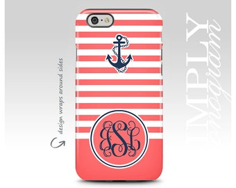 iPhone 7 Case, Galaxy S8 Plus Case, iPhone 7 Plus Case, iPhone 8 Case, Monogram, Samsung Galaxy Case, Galaxy S8 Case, Coral Stripes, Anchor