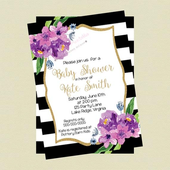 Purple Floral Baby Shower Invitation Floral Baby Shower Invite