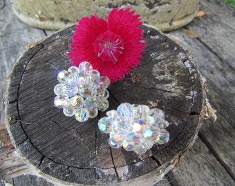 Glass Crystal Clip On Earrings