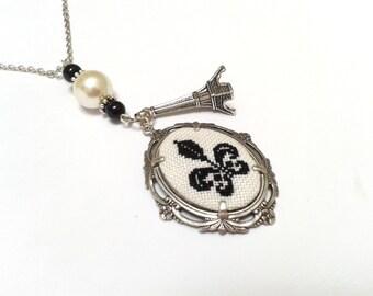Fleur de Lis hand embroidered pendant necklace