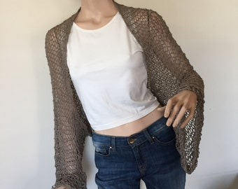 Brown knitted bolero-scarf