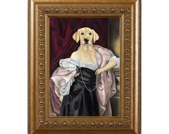 Dog Magnet, Lab in a Black Dress, Labrador Retriever, Yellow  Lab,  Refrigerator Magnet
