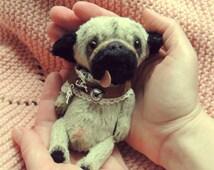 Pug dog Fanny. Teddy dog. Pug toy.  Artist teddy bears. Stuffed animal by photo. Portrait your pet. Whimsical. Animalistic gifts. OOAK