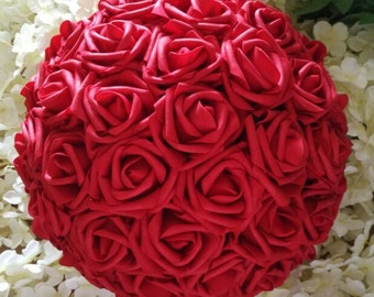 "12"" Red Kissing Ball Pomander Red Foam Rose Flower Balls For Wedding Centerpieces Decor"