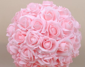 Baby Pink Kissing Ball Light Pink Foam Flower Ball Rose Pomanders 9 inch For Wedding Centerpieces Bridal Shower NJHQ-01
