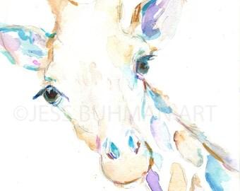 Giraffe Watercolor Print, Print of Giraffe, Watercolor Giraffe, Watercolor Animal Print, Giraffe Painting, Nursery Art, Nursery Watercolor