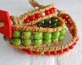Natural Jute Beaded Bracelet - Red n Green - 3 wrap