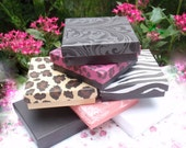 "Necklace Bracelet Jewelry Gift Box 3.5"" x 3.5"", Choice Black, White, Damask Styles, Pink or Beige Leopard or Zebra Stripes"
