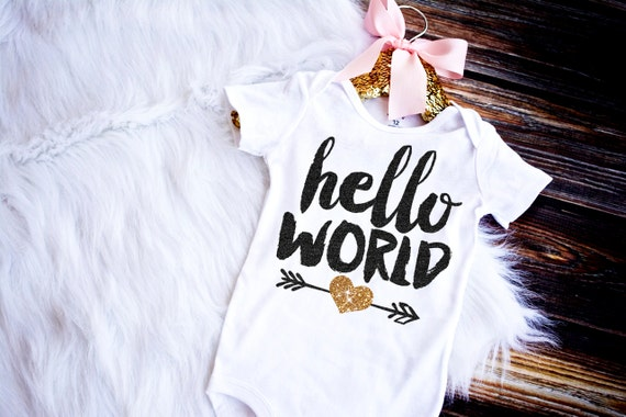 Hello World Bodysuit Baby Girl Newborn Shirt By