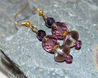 Purple lustre, faceted glass drop earrings