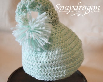 Mint Green pom pom elf hat