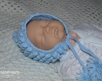 Newborn, 0-6 months,popcorn stitch, bobble pixie bonnet made to order