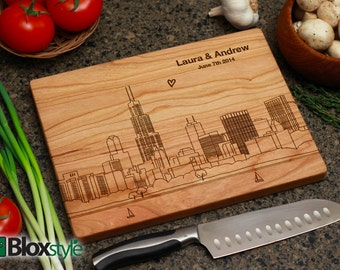 Personalized Cutting Board, Engraved Cutting Board, Custom Cutting Board, Personalized Gift, Wedding Gift - Detailed Chicago Skyline