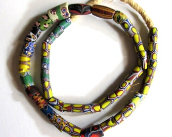 Full Strand of African Beads, Various Sizes and Colors, Recycled Glass, Tubular Beads, On Rope Strand