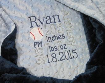 Personalized Birth Stats Baby Boy Minky Blanket