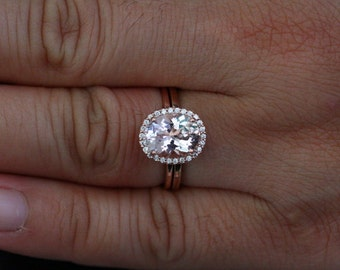 Fine Oval 10x8mm Pink Morganite Wedding Ring Set with Diamond Halo in 14k Rose Gold with Plain Gold Band