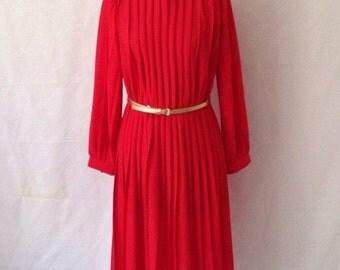 Vintage Pleated Midi Dress
