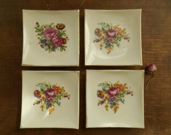 Vintage floral dish Set of 5 small trinket dishes Square dish with shabby roses Small pin dish