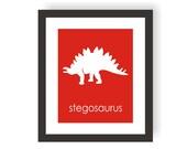 Dinosaur Nursery Art Print - Stegosaurus - Kids Dinosaur Art, Boy Room wall Decor, Kids Wall Art, Dinosaur Design