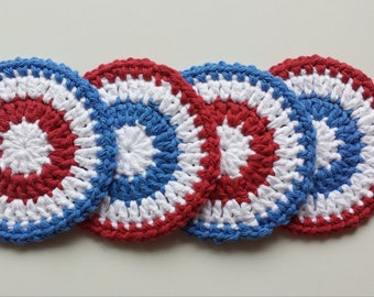 4th of July - Crochet Coasters - Set of 4