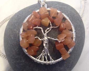Orange adventurine tumbled chips silver tree of life wire wrapped pendant