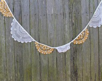 Vintage Doily Bunting. Wedding Bunting. Fabric Garland. Vintage Doily Garland. Ceremony Backdrop. Baby Shower Bunting. Vintage Wedding Decor