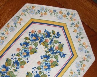 Quilted Table Runner - Yellow and Blue Stripe Floral - Reminiscent of Vintage Table Linens - Reversible