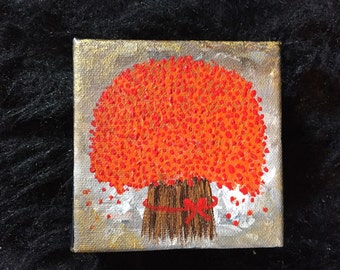 Tree paintings gift wall Art red painting red Acrylic Wall Decor gifts for her wall Art Small Canvas Painting Mini Painting by Sami