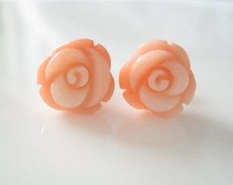 Pink Coral Roses on 14Karat Gold Studs Earrings, Floral Earrings