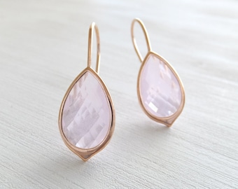Rose Gold Pink Jewelry Earrings, Rose Water Faceted Teardrop, Simple Earrings, Gift for Her, Under 25, Christmas Gift