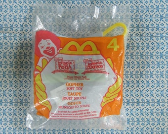Winnie the Pooh's Gopher Soft Toy Head with Key Ring Clip McDonald's Toy #4 New in Package
