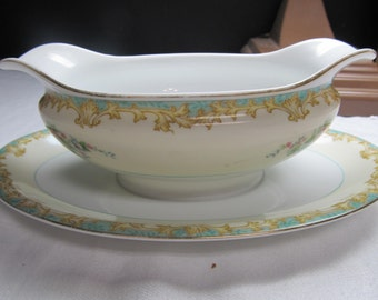 SALE! was 22.00 Vintage Noritake Adela Pattern Gravy Boat with Attached Saucer Japan T