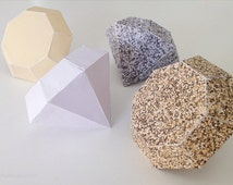 Paper diamonds papercraft  - Gold & silver D.I.Y. 3D folding paper diamonds 2 sizes (PC003) INSTANT DOWNLOAD