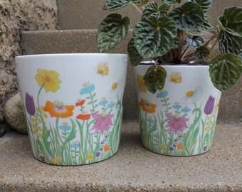 Vintage Flower Power Porcelain Planter, Wedding Centerpiece, Pencil Holder, Set of 2