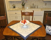 Rustic Blue Floral Table Topper