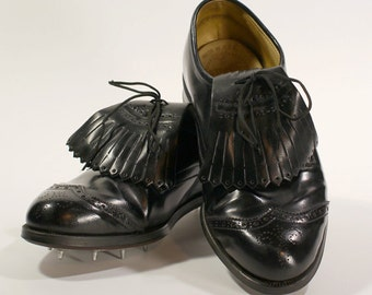 Vintage Men's Black Wingtip Golf Shoes - Etonic All-Weather Lace Up Golf Shoes w/Kilties & Spikes - Man Made Uppers