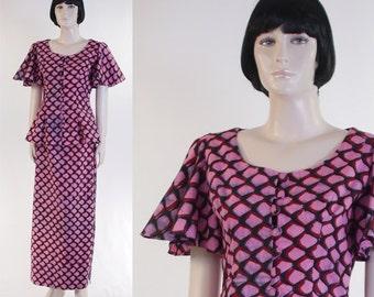 Women's African 3-Piece Suit - African Clothing - Size 9-10 - Skirt / Top / Sarong / Pink, Black, Red / Batik / Tie Die / Bohemian