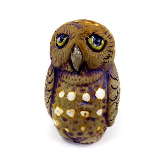 Little Owl Light Pull Cord Pull Novelty Animal Hand by ZooCeramics
