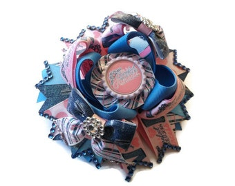 I'm and Barefoot Blue Jean Princess Stacked Hair Bow-Blue Jean Stacked Boutique Bow (5 1/2 inches Wide)