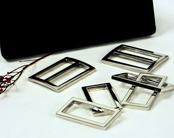 """Purse Hardware, 6pc Set has 4pc of 1_1/4"""" Rectangle D Rings + 2pc of  1_1/4"""" Slides, Bag Making Supplies @ MeiMei Supplies"""