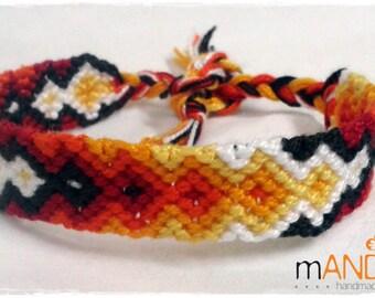 Friendship Bracelet, Macrame, Woven Bracelet, Wristband, Knotted Bracelet  - Flames