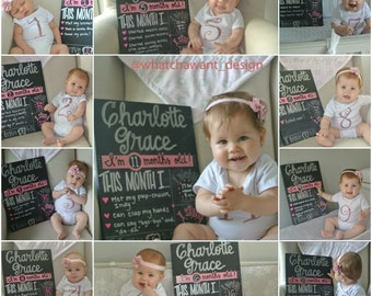 BRAND NEW Month-by-Month CHALKBOARD, unique alternative to 1-12 month stickers, blocks, baby onesie or bodysuit stickers
