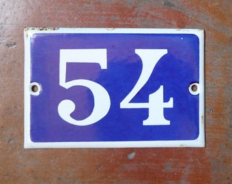 vintage French house number 54 enamel blue and white Enamel Number
