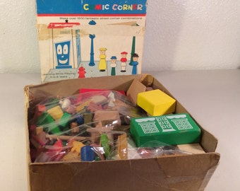 Vintage Playskool Toy Comic Corner Wood Building Set