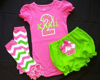 Baby Girl Birthday Outfit- Cupcake outfit- Birthday onesie, bloomers, leg warmers