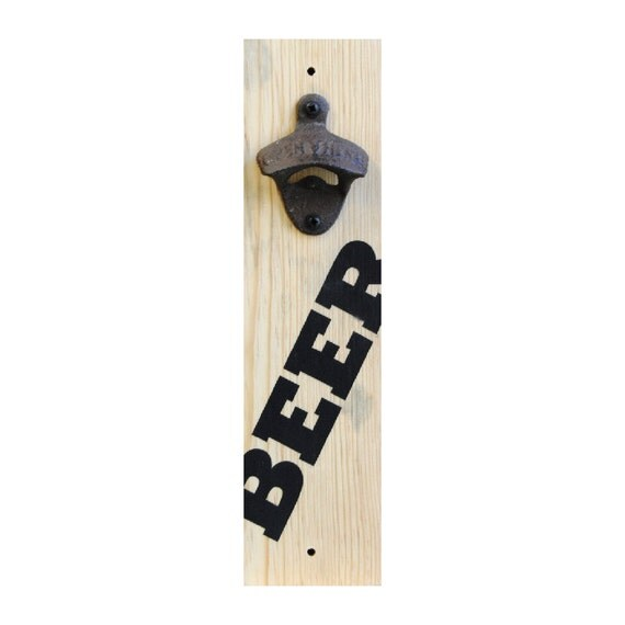 bottle opener reclaimed wood wall mount by sayitdontsprayit. Black Bedroom Furniture Sets. Home Design Ideas